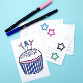 Color-in Cupcake Postcard 20  Pack