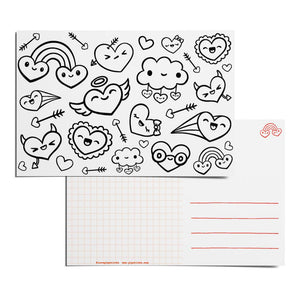 Color-in Hearty Party Postcard Pack