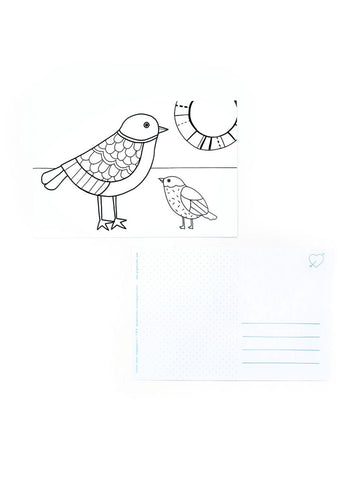 Color-in Birds Postcard Pack