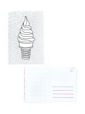 Color-in Ice Cream Cone Postcard Pack