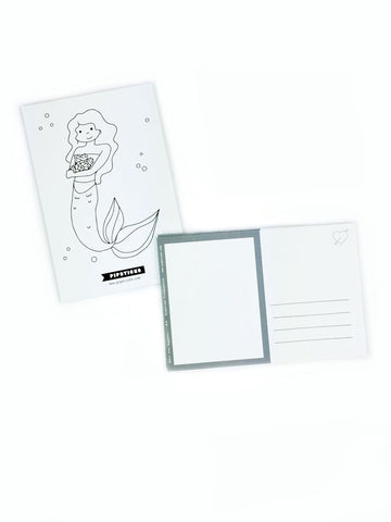 Color-in Mermaid Postcard 20 Pack