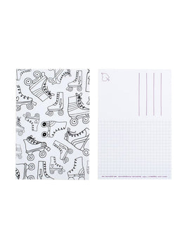 Color-in Roller Skates Postcard 20 Pack