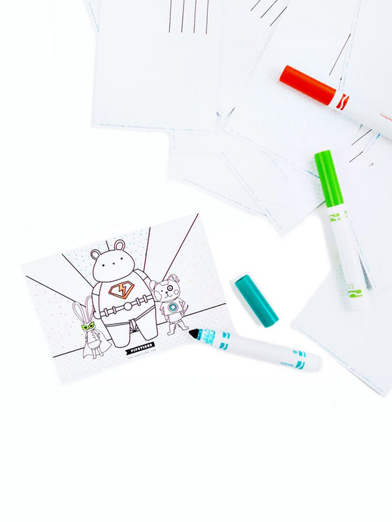 Color-in Super Animals Postcard 20 Pack
