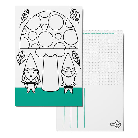 Color-in Gnomes Postcard Pack