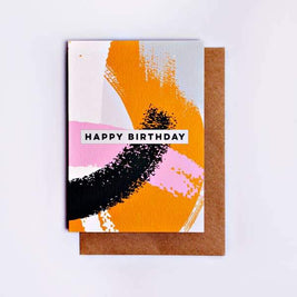 Swirl Happy Birthday Greeting Card by The Completist