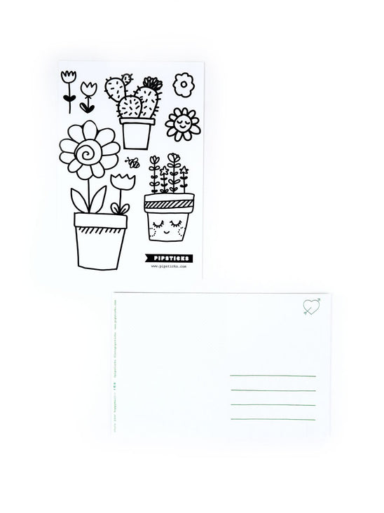 Color-in Cactus Postcard 20 Pack