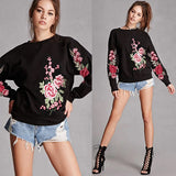 floral embroidered sweatshirt