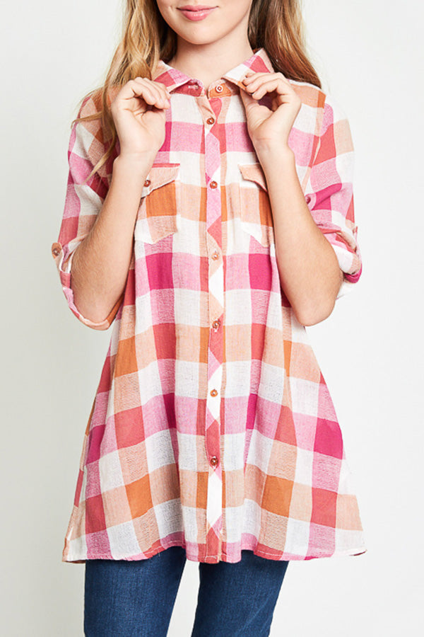 checkered button up tunic