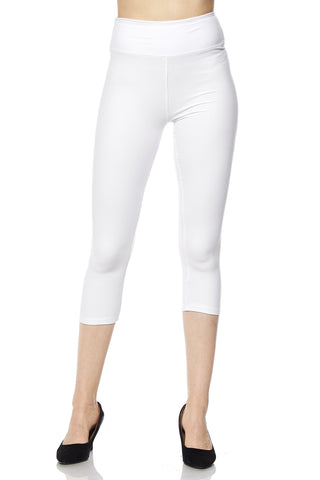 "3"" waistband solid capri leggings"