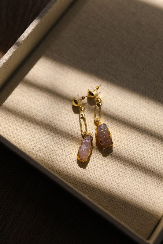 gemstone pin drop earrings