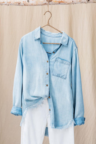 raw hem denim shirt