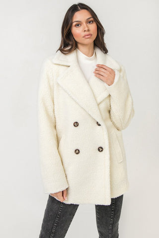 double breasted sherpa coat