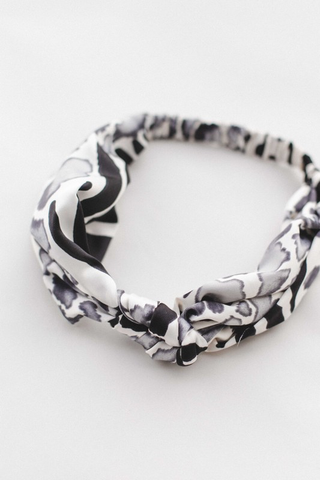 zebra satin floral knotted headband
