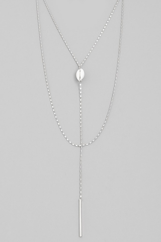 bar cowrie shell lariat necklace