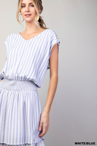 smocked waist striped dress