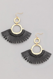 faux leather fan earrings