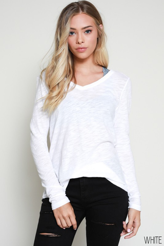 long sleeve v neck top