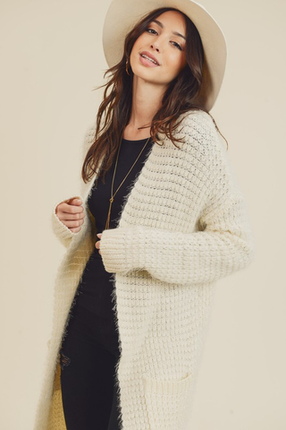 square knit cardigan