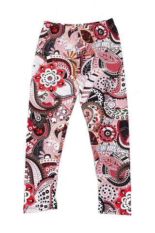 red paisley print leggings