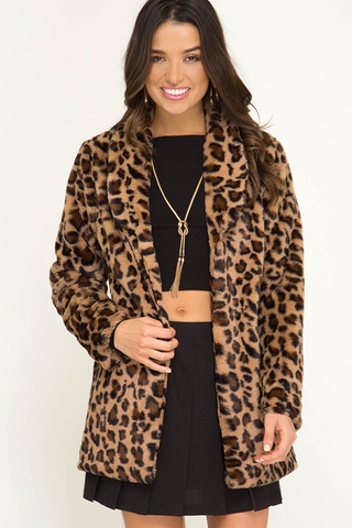 faux leopard fur jacket