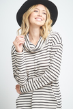 striped cowl neck tunic