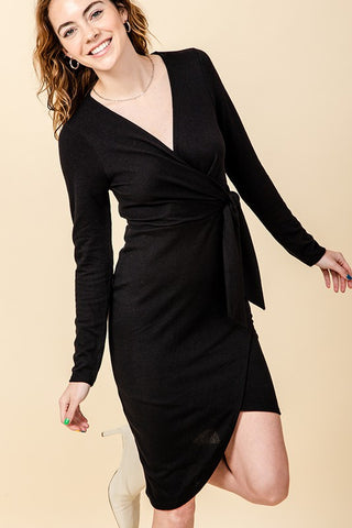 surplice asymmetric dress
