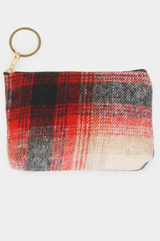 plaid coin purse