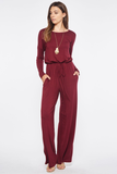 long sleeve drawstring jumpsuit