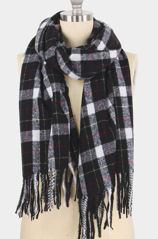 soft plaid tassel scarf