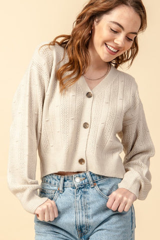 pointelle cropped cardigan