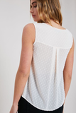 sleeveless swiss dot top