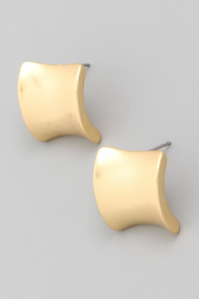 curved square stud earrings