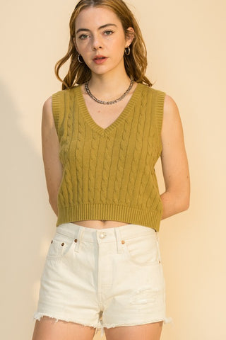 cable cropped vest