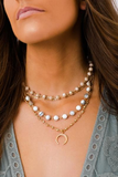 gemstone & crescent layered necklace