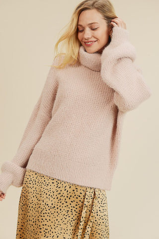 fuzzy turtleneck sweater
