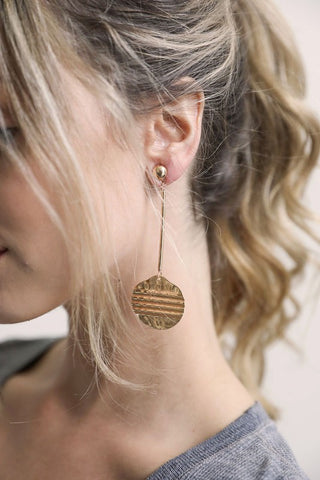 gold disc dangle earrings