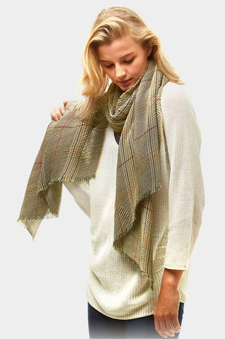 glen check oblong scarf