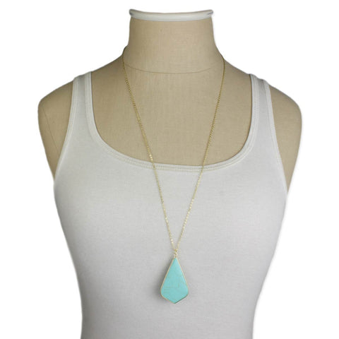 pointed teardrop turquoise pendant necklace