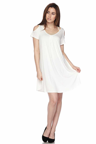 short sleeve cold shoulder tunic/dress