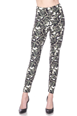 olive rose print leggings