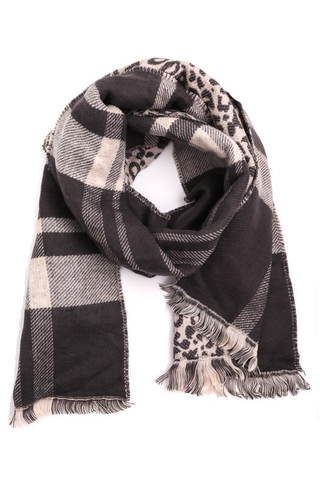 plaid & leopard oblong scarf