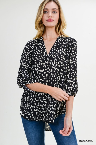 polka dot collarless top