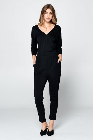 cross over solid jumpsuit