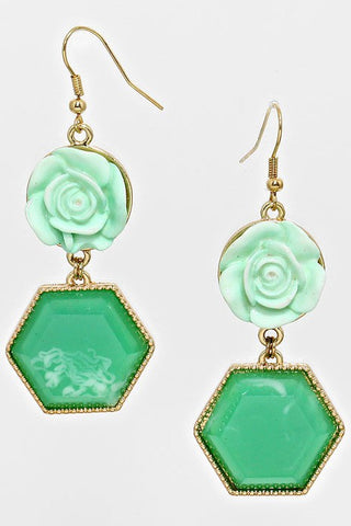 rose & hexagon dangle earrings