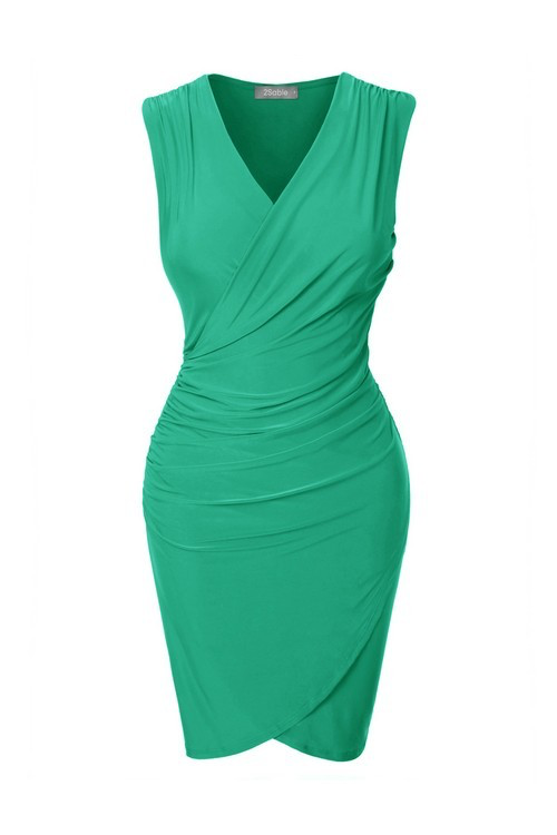 shirred wrap bodycon dress