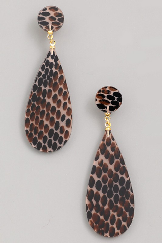 spotted acetate raindrop earrings