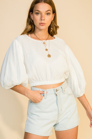 balloon sleeve crop top