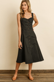fold front sleeveless button down dress