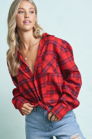 wave plaid top