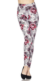 garden rose & skull print leggings